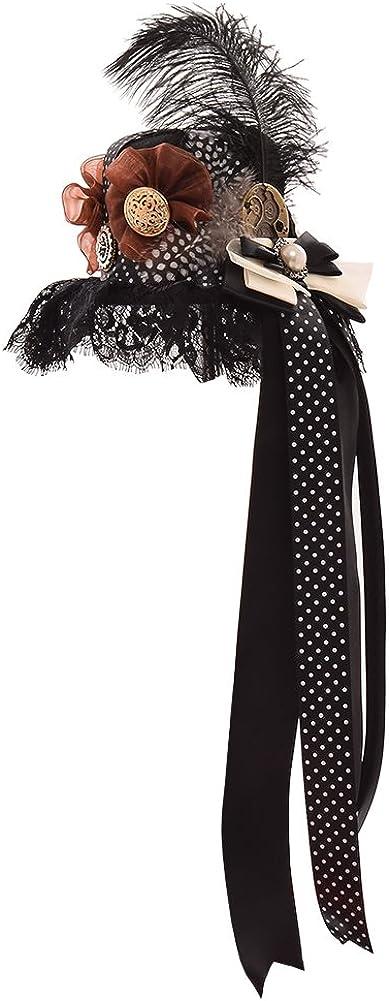 BLESSUME Steampunk Frauen Getriebe Mini Hut Gotisch Zylinder Haarspange