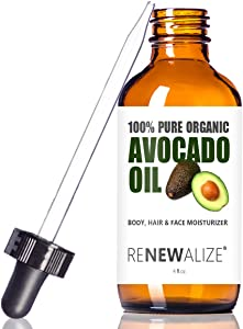 USDA Certified Organic Avocado Oil - Skin Moisturizer Cold Pressed and Unrefined in 4 oz Dark Glass Bottle with Dropper   Enhances Hair's Natural Shine   Softens and Moisturizes Severely Dry Skin