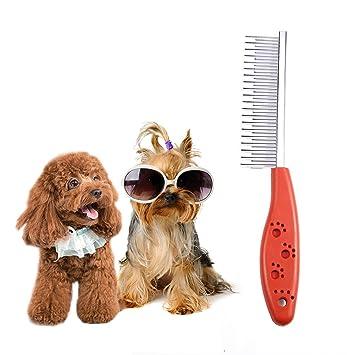 Alicedreamland Pin de Acero Inoxidable para Mascotas Perro Pelo pulga Peine Broche Gato derramamiento Limpieza Cepillo de Herramientas Limpio Rojo: ...
