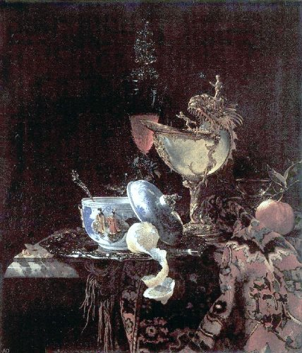 """Willem Kalf Still Life with Nautilus Cup - 20.1"""" x 25.1"""" Peel & Stick Removable Wall Decal"""