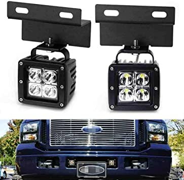 Amazon.com: iJDMTOY Lower Grille LED Pod Light Fog Lamps Compatible With  2005-07 Ford F250 F350 F450 Excursion, Includes (2) 20W CREE LED Cubes, OEM  Foglamp Location Mounting Brackets & On/Off Switch WiringAmazon.com