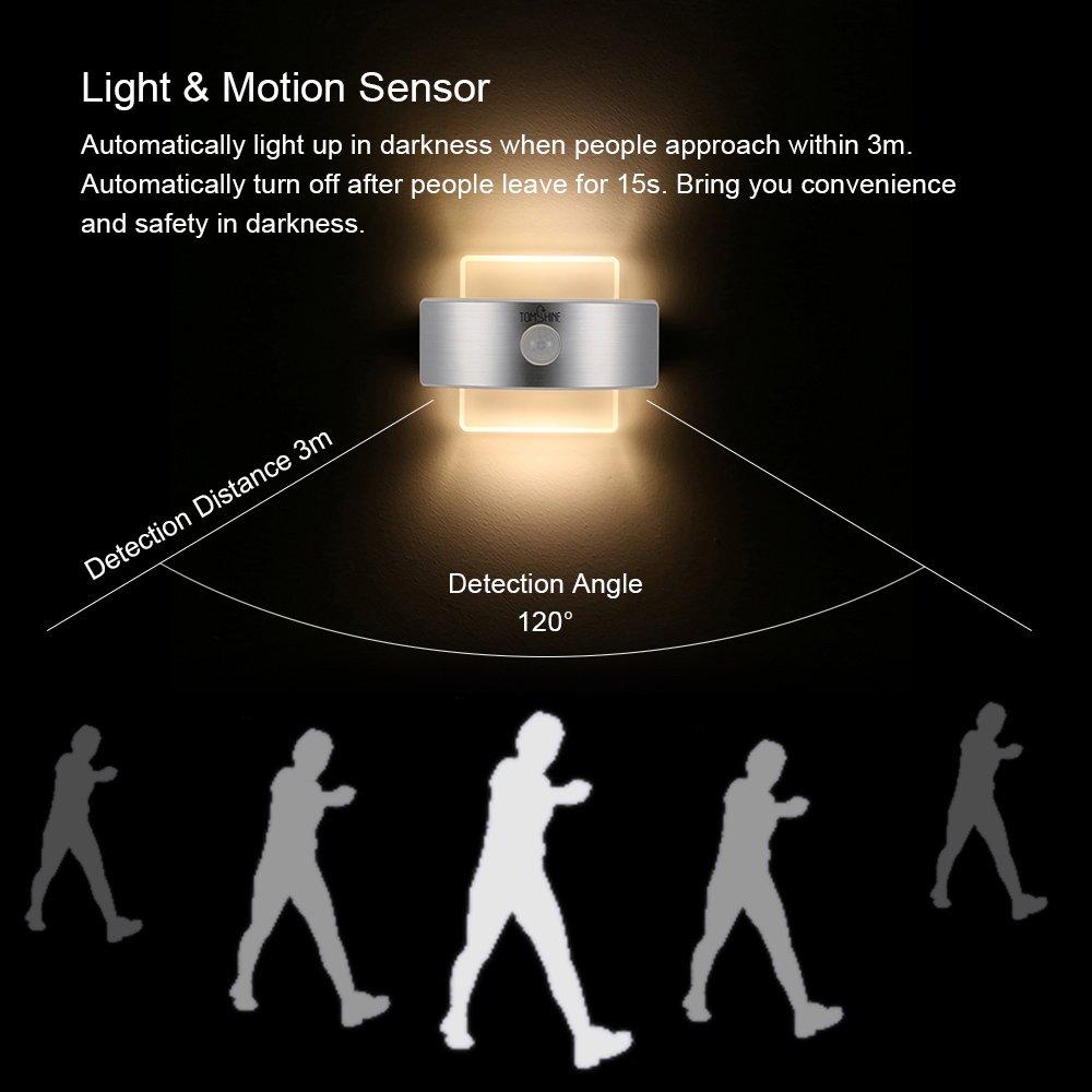 Tomshine 2W Lampe de mur 14 leds Projecteur PIR D/étecteur de Mouvement Humaine 2 Modes d/éclairage et 2 Modes de Rechargeable pour Combles Chambre All/ée Escalier Garage