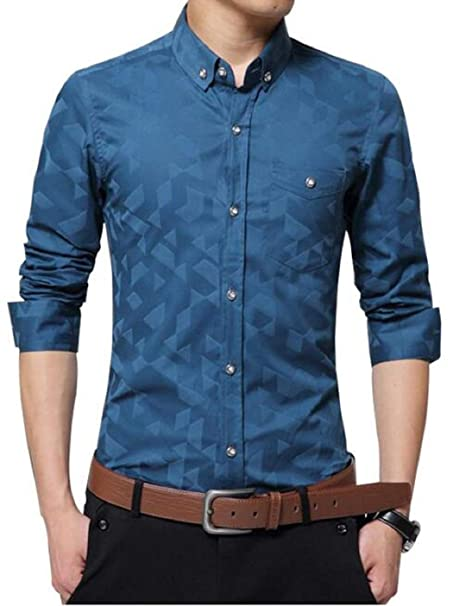 620b2a0f7634 AIYINO Mens Cotton Casual Slim Fit Long Sleeve Dress Shirts with Pocket   Amazon.co.uk  Clothing