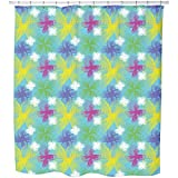 Uneekee Spiral Flowers Shower Curtain: Large Waterproof Luxurious Bathroom Design Woven Fabric