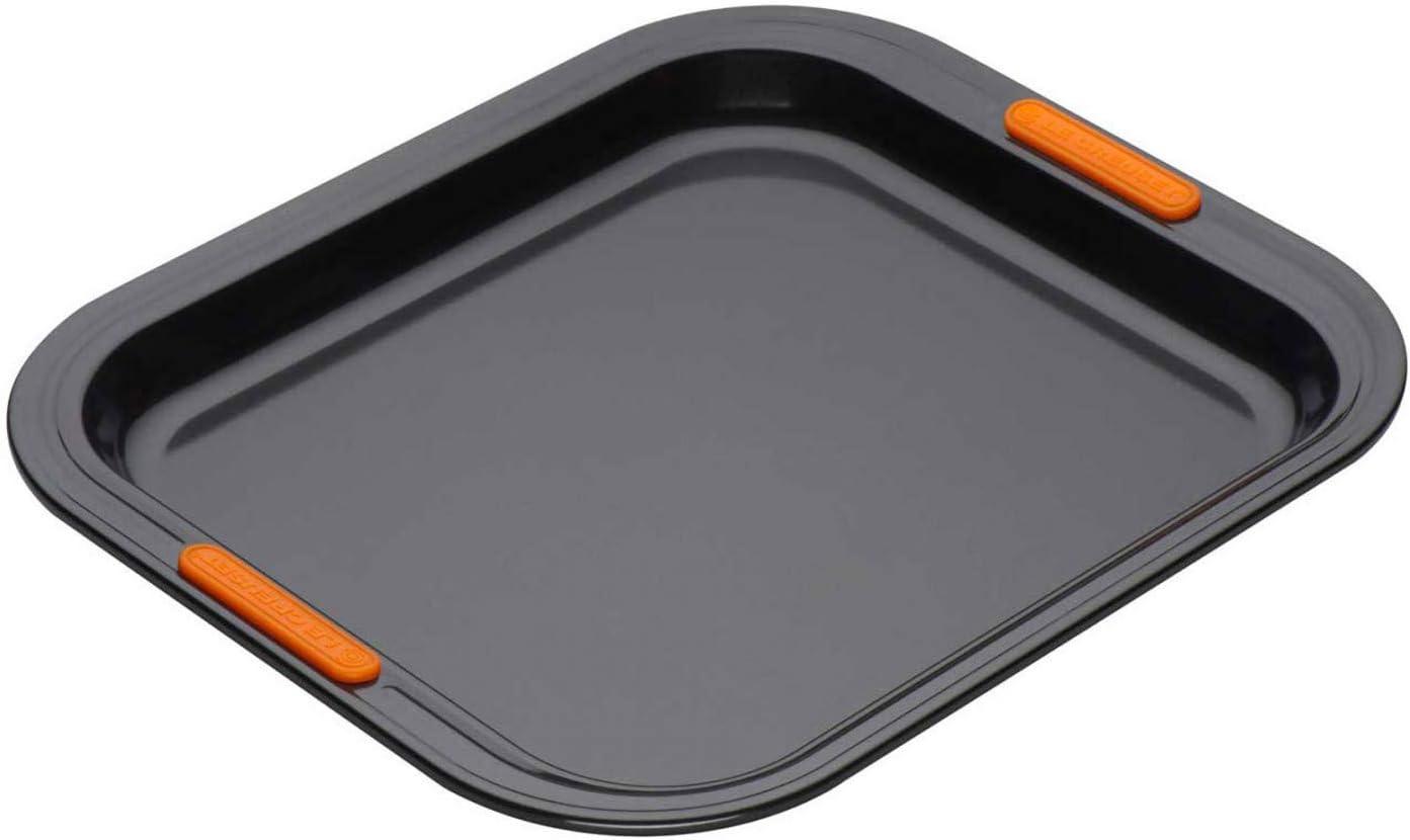 PFOA Free Resistente alle Sostanze Acide Bordo Alto Finitura in Acciaio al Carbonio Antracite//Arancio LE CREUSET Teglia per Biscotti 31 x 28 cm