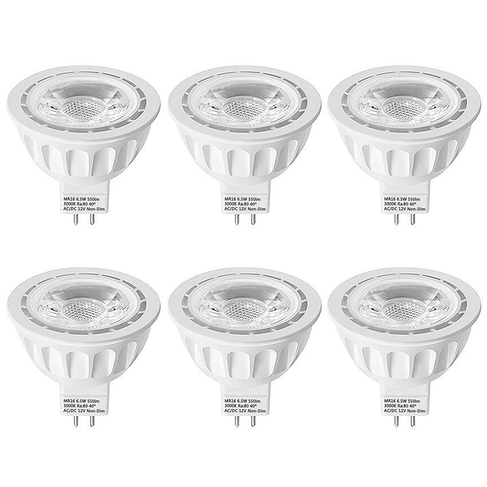 MR16 LED Bulbs 6 Pack, LEDMEIMR16 LED Light Bulbs, 65W Halogen Bulb Equivalent, AC/DC 12V 6.5W 50lm 4000K Natural White, 40° Beam Angle Spotlight, UL Listed, Non-Dimmable