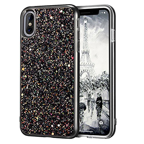 iPhone X Case, iPhone 10 Case, MIRACASE Shockproof Glitter Sparkle Bling Dual Layer Hard Cover Soft Bumper Protective iPhone X Case for Girls Women, Black