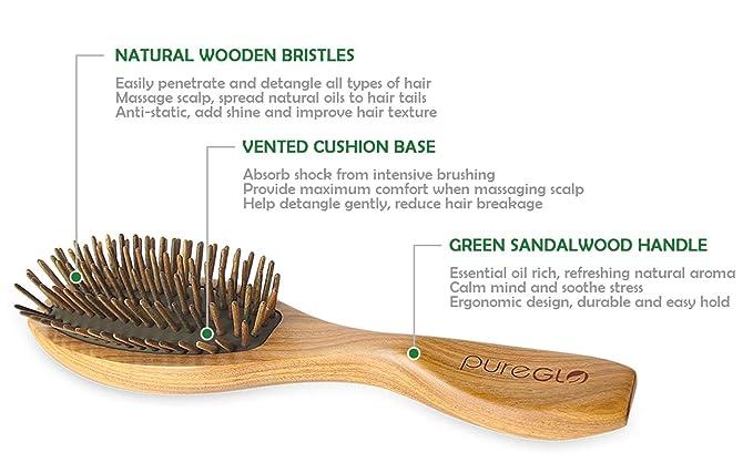 pureGLO Cepillo de Pelo de Madera de Sándalo Verde Natural - sin desenredar el peine del pelo del masaje estática - cerda madera amortiguó cepillos ...