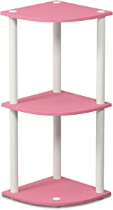 Furinno 12077PI/WH Turn-N-Tube 3-Tier Corner Reversible Multipurpose Shelf, Pink/White