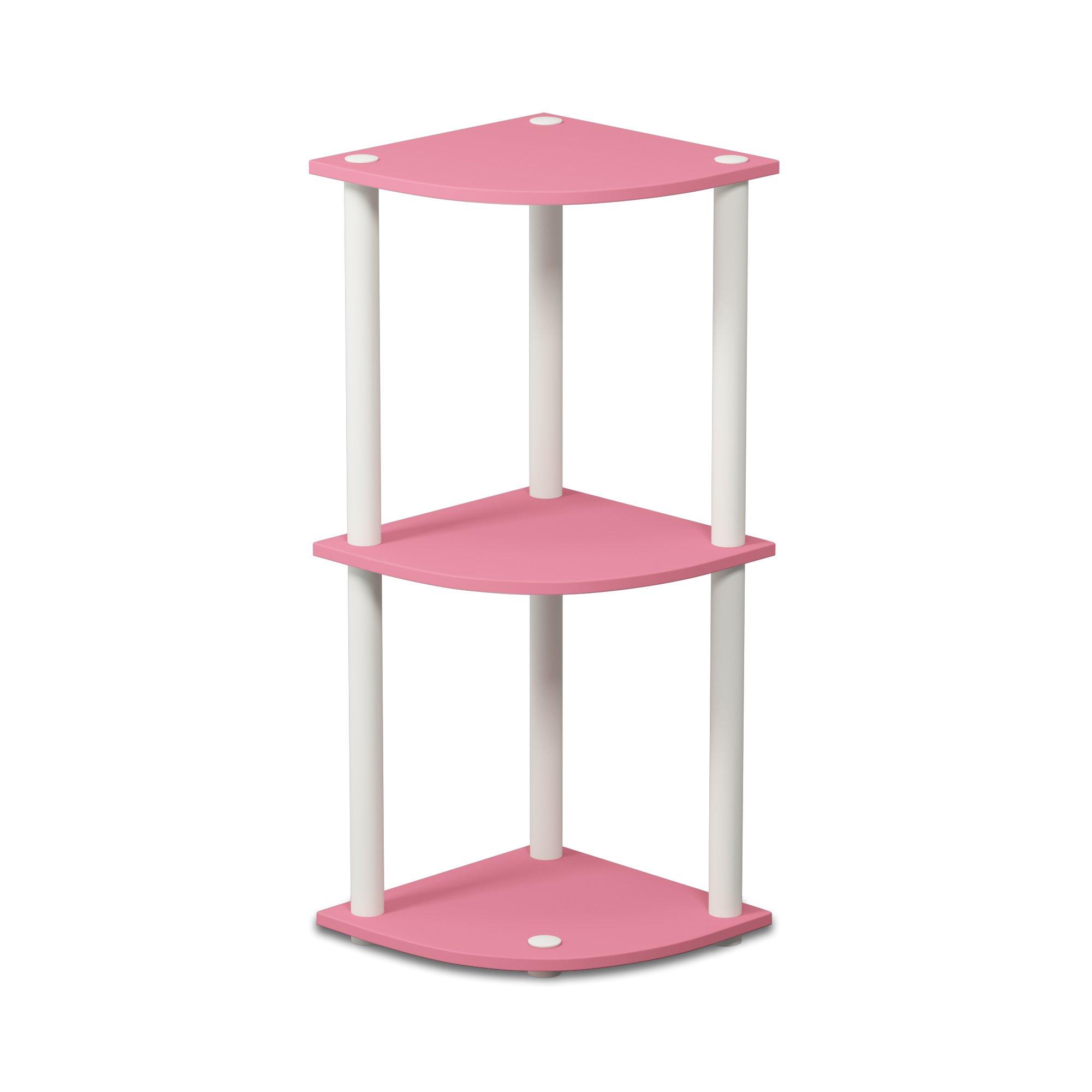 Furinno 12077PI/WH Turn-N-Tube 3-Tier Corner Reversible Multipurpose Shelf, Round, Pink/White