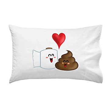 """Funny Poop with Toilet Paper """"Best Friends"""" Colorful - Pillow Case  Single Pillowcase"""