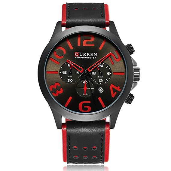 CURREN 8244 marca de lujo deportes cronógrafo hombres relojes moda relojes de pulsera casuales para cuero: Amazon.es: Relojes