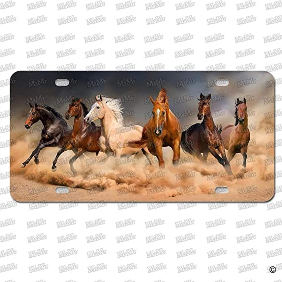 License Plates Three Running Horses Waterproof Metal Auto Tag Signs for Car Decoration 6 X 12 Inches