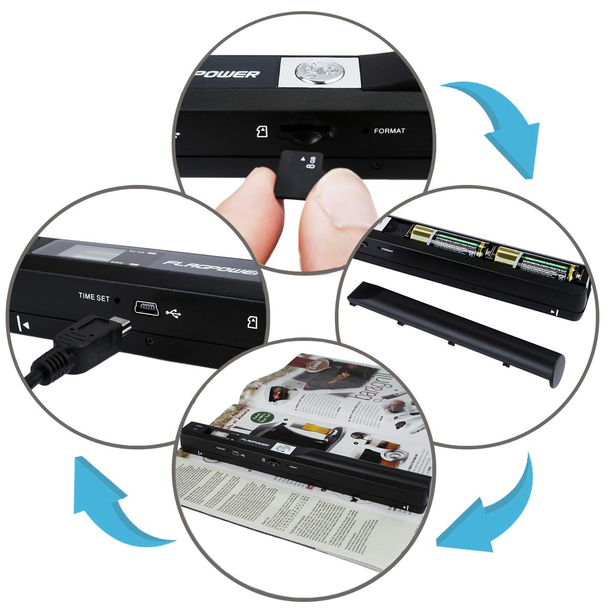 Included 8G Micro SD Card and Two AA Battery and OCR Software FLAGPOWER 900DPI Solutions Magic Wand Portable Scanner Business Card Scanner Handheld Document /& Image Scanner USB Mobile Scanner