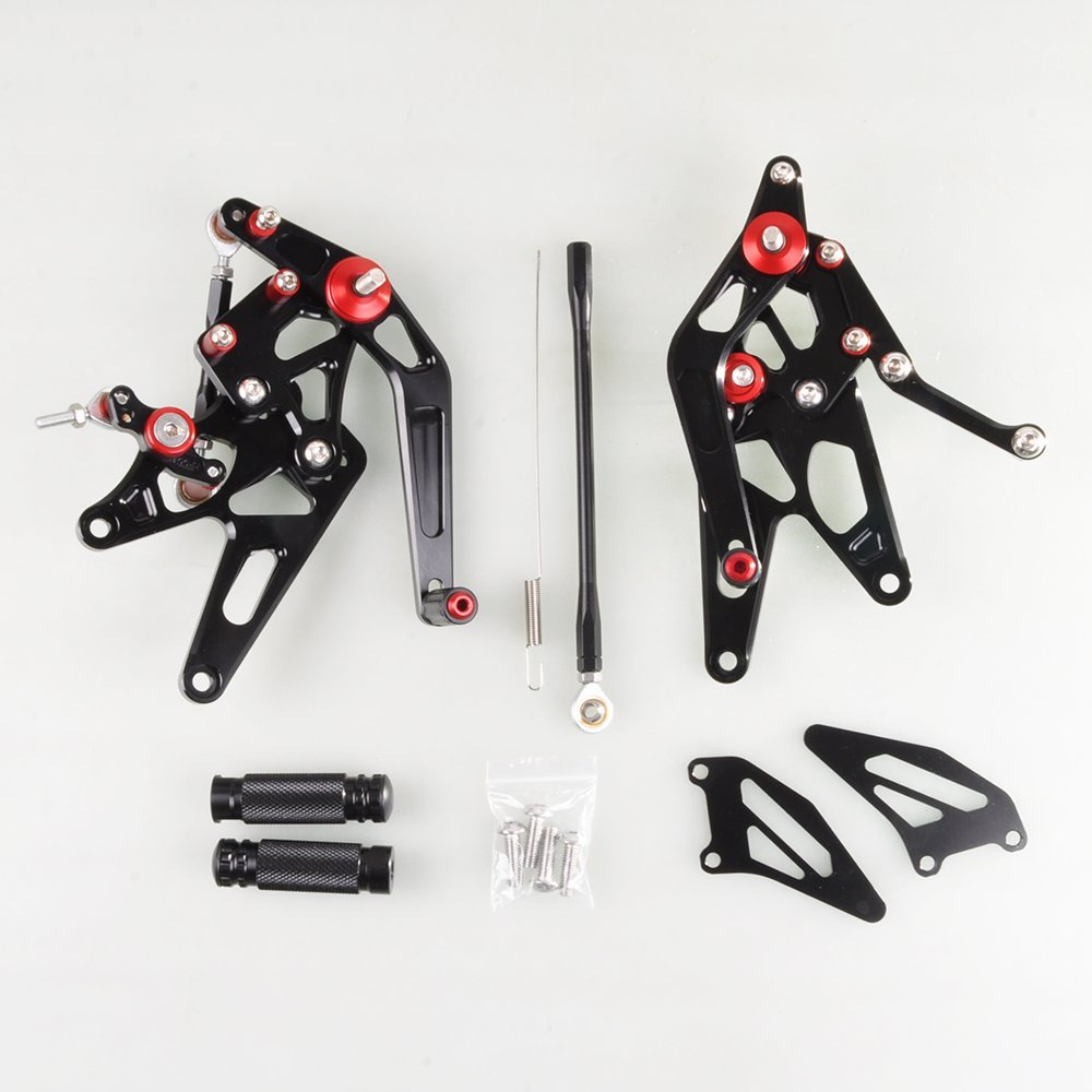 Wotefusi Motorcycle New Aluminum Footrest Footpeg Foot Pegs Set Kit For 2004 2005 2006 YAMAHA YZF R1