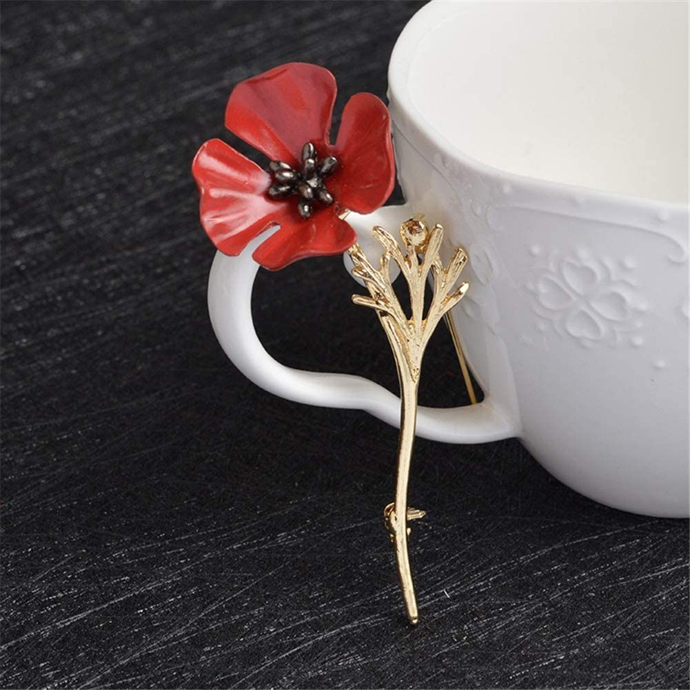 Nous Nous souviendrons dor Cristal Rouge Brooches Fleur AILUOR /Émail Poppy Broche Pin Badge Lapel