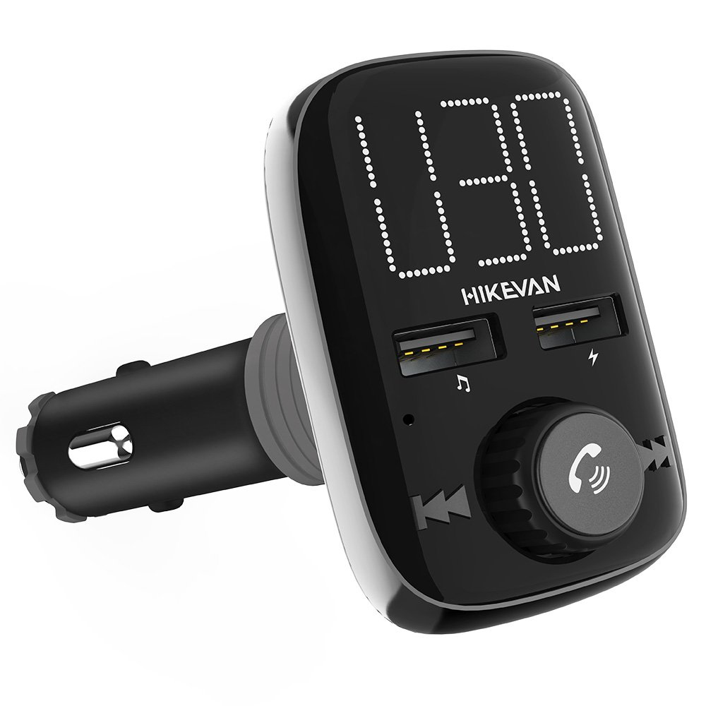 [New Version] Bluetooth FM Transmitter for Car Wireless Aux Adaptor Receiver Hands Free Car Kit with Dual-USB Fast Charger 2.4A Output,Larger LED Display,USB/Micro SD Reader MP3 Player, AUX In/Out for iPhone 7 iPad Samsung LG (HIKEVAN)