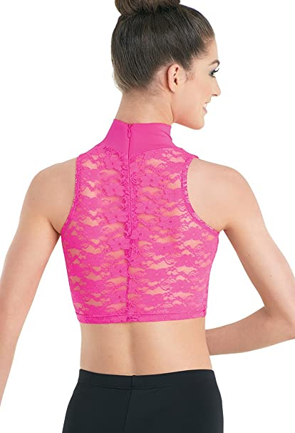 7f63882b405c73 Amazon.com  Balera Dance Crop Top Mock Neck Sleeveless Lace Back Cerise  Adult X-Large  Clothing