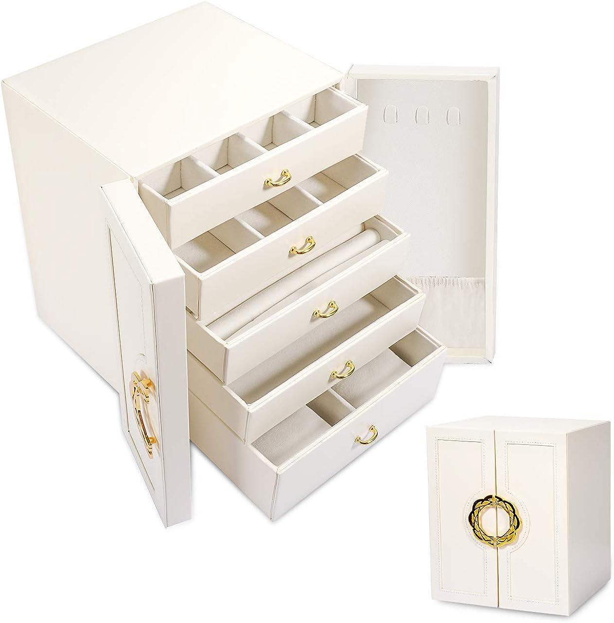 Gifort Caja Joyero, Caja de Joyas Grande Estuche Organizador de Joyas Doble Puerta con 5 Cajones para Anillos Pendientes Relojes, Regalo para Niñas Mujeres
