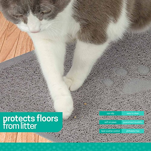 Ruff 'n Ruffus Cat Litter Box Mat with Free Kitty Litter Scooper | Heavy Duty Non-Slip Anti-Tracking Pad | Waterproof, Non-Toxic, Easy Clean | Soft & Stylish Litter Trapping Mat for All Floors