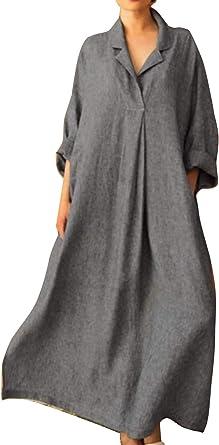 Vestidos Maxi De Cáñamo Casual Primavera Verano Camisa Talla Grande para Mujer: Amazon.es: Ropa y accesorios