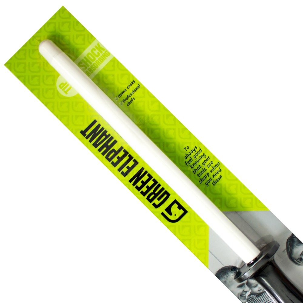 Green Elephant Knife Sharpening Rod, Lightweight & Highly Durable Ceramic Honing Steel, 11 Inch