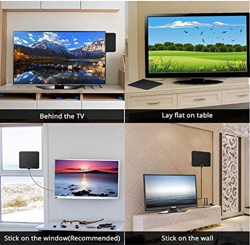 Antena HDTV, 50 mile rango digital interior amplificada HDTV antena con amplificador desmontable amplificador de señal Booster, fuente de alimentación USB y 13 pies de alto rendimiento más grueso cable coaxial canales