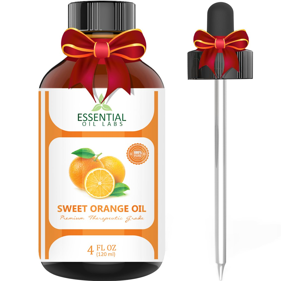 Sweet Orange Essential Oil – 100% Pure and Natural 4 oz. with Glass Dropper - Therapeutic Grade - Uplift Your Mood - Enhance Your Immune System - Wonderful Citrus Scent - Kills Bacteria and Pathogens