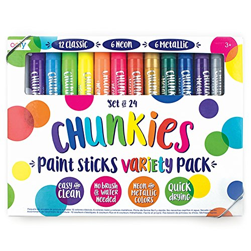 OOLY Chunkies Paint Sticks Variety Pack, 3 x Set of 24 (72 Crayons Total), Classic Neon & Metallic Colors by OOLY (Image #1)