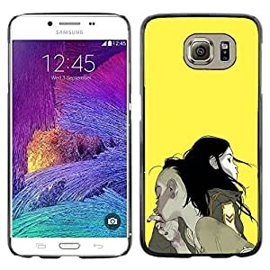 LECELL--Funda protectora / Cubierta / Piel For Samsung Galaxy S6 SM-G920 -- Boy Girl Couple Smoke Yellow Painting Art --