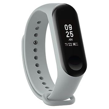 XIHAMA - Correa de Silicona Suave de Repuesto para Reloj Deportivo Inteligente Xiaomi Mi Band 3 (Gris): Amazon.es: Electrónica