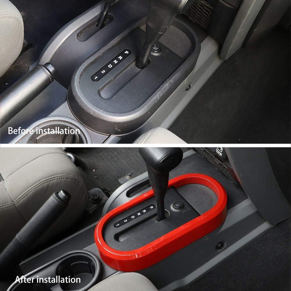 RT-TCZ Gear Shift Panel Trim Cover ABS Frame Bezel for Jeep Wrangler Accessories 2007-2010 JK JKU Sport X Sahara Rubicon Light Color