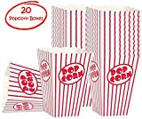popcorn and candy holder - Movie Party Popcorn boxes - Striped White and Red Popcorn Boxes - Great for movie night or movie party theme, theater themed decorations or Carnival party circus box etc. (20 Boxes)