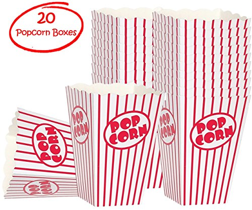 Movie Party Popcorn boxes - Striped White and Red Popcorn Boxes - Great for movie night or movie party theme, theater themed decorations or Carnival party circus box etc. (20 Boxes) (Container Decoration)
