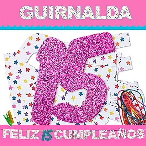 Inedit Festa - Cumpleaños Guirnalda 15 Años Rosa - Feliz 15 ...