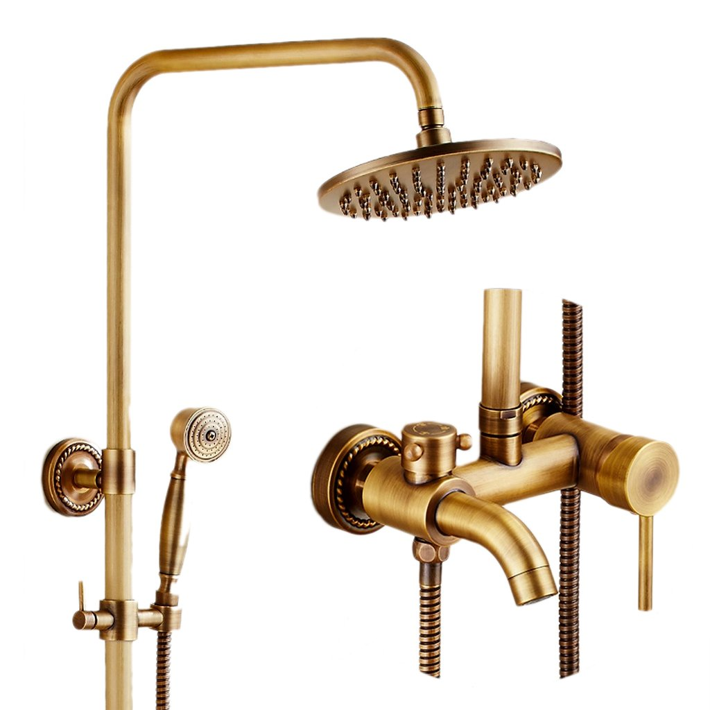 Shower LINGZHIGAN Set Retro European Hot And Cold Faucet Home Bathroom Copper Texture Anti-oxidation Does Not Rust
