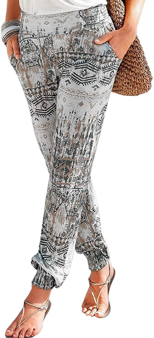 Vertvie Pantalon Femme Boho Harem Pantalon L/éger Imprim/é Floral Pantalon Fluide Mode Plage /Ét/é Loose avec Taille /Élastique Poche Pantalon de Loisir Casual Confortable