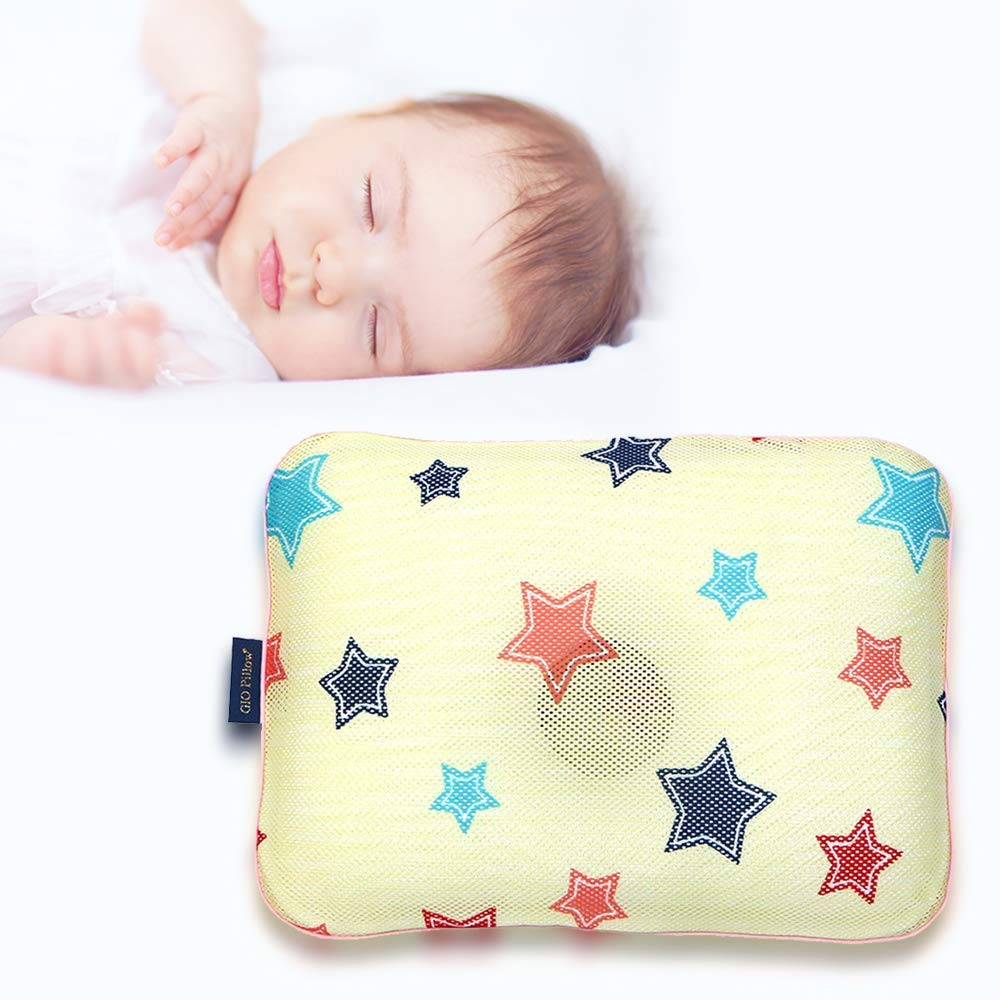 Gio Pillow 3D Air Mesh Baby Pillow, Head Shaping Pillow, Flat Head Syndrome Prevention [Yellow Star/Medium]