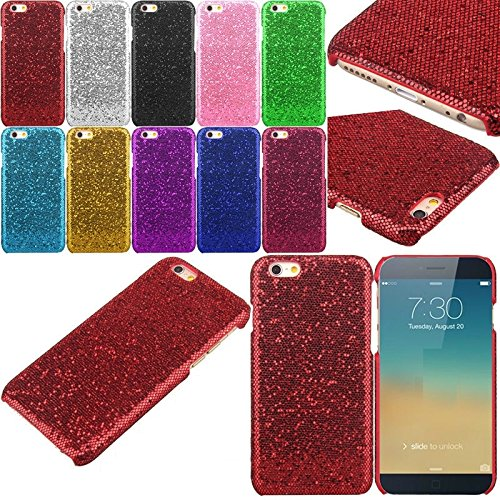 Apple iPhone 7 Solid Glitter Sequin Luxury Sparkly Girly Kawaii Bling Crystal Diamond Variety Confetti Pretty Twinkle Shine Shimmer Fashion Iridescent Case [Thin Hard Cover] By Tech Express (Red) (Iphone 4 Wall Charger Sparkly)