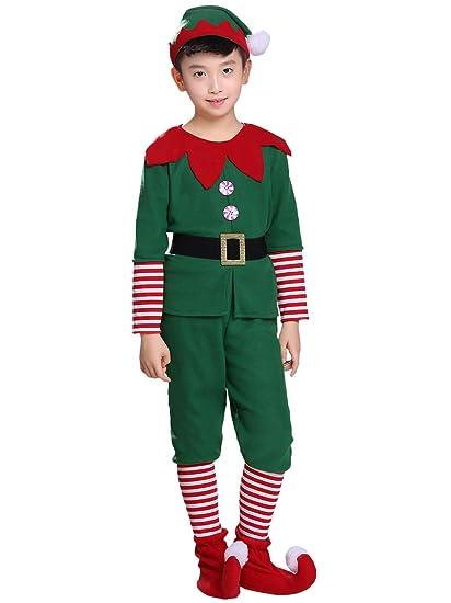YOSICIL Niñas Niños Disfraz de Navidad Conjunto Disfraz Elfo ...