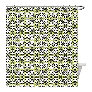 Liguo88 Custom Waterproof Bathroom Shower Curtain Polyester Kids Geometrical Up and Down Panda Pattern Daisy Flowers Cute Funny Bears Pistachio Green Black White Decorative bathroom