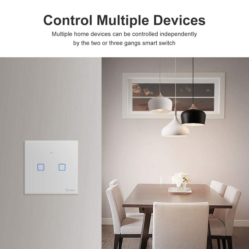 SONOFF T1EU3C Interruptor Mural para Control de Luces Inal/ámbrico por RF Wi-Fi Inteligente Interruptor de Tipo 86 de 3 Canales para Soluciones de Automatizaci/ón Dom/ótica