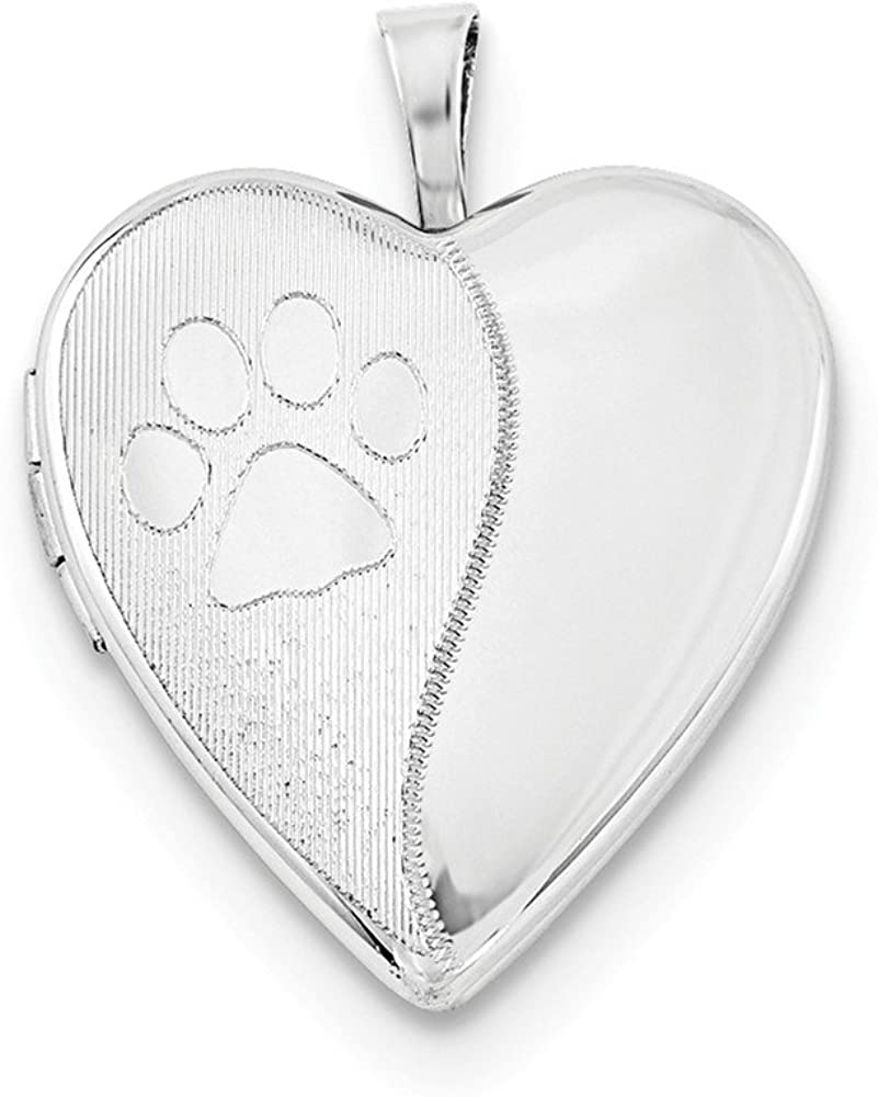 .925 Sterling Silver Satin & Paw Prints Heart Locket Charm Pendant