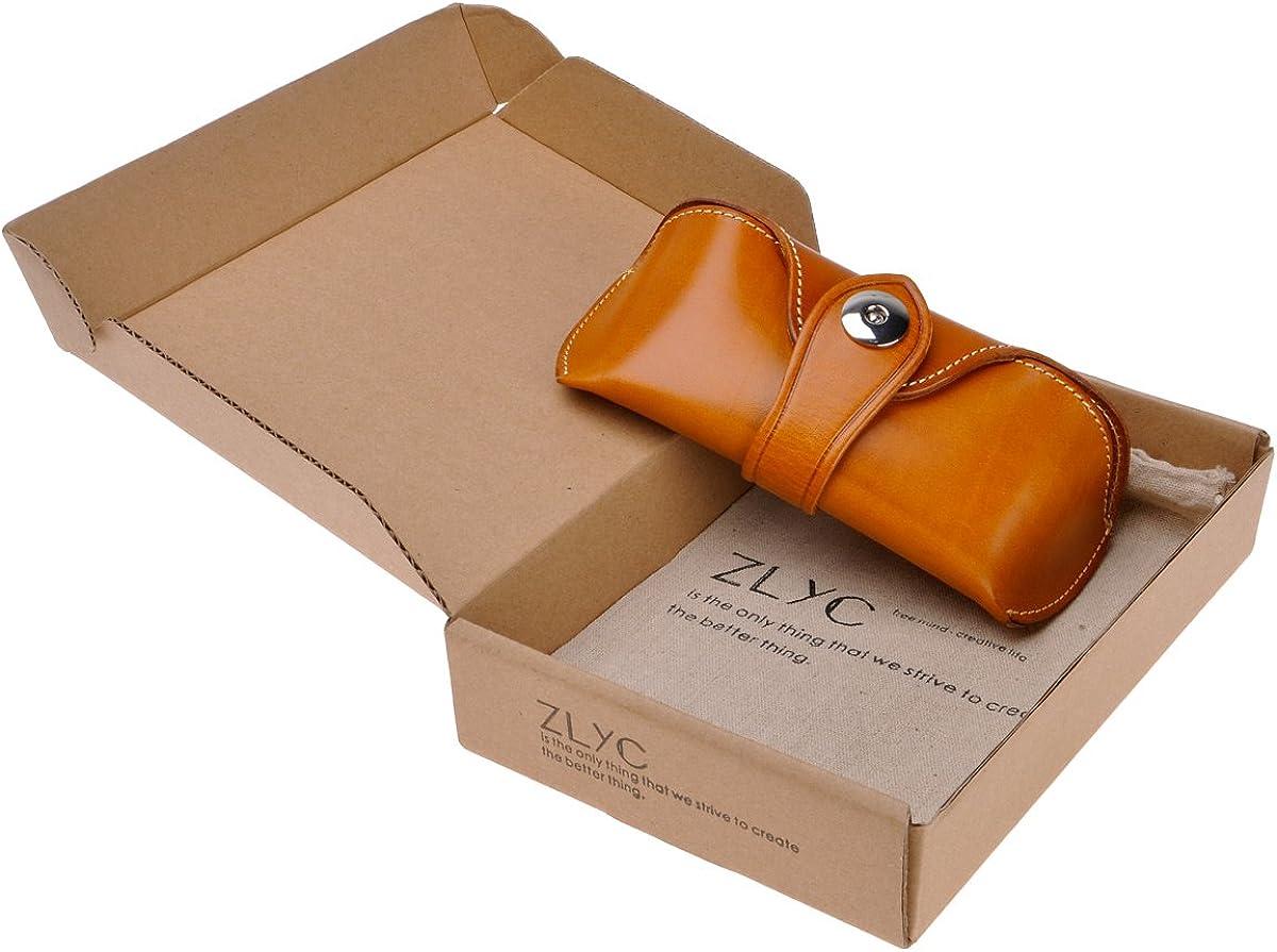 ZLYC Unisex Handmade Genuine Leather Hard Eyeglass Case Sunglasses Holder