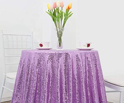 Bon B COOL 50u0026quot; Round Lavender Sequin Tablecloth Glitter Romantic Wedding  Tablecloths Luxurious For Birthday