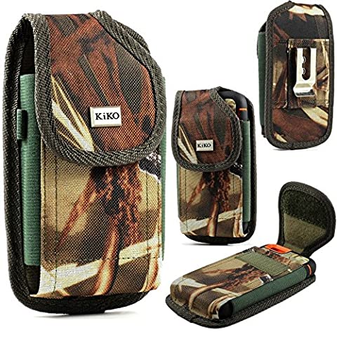 XXL SIZE Apple iPhone 5S, 5C, 5, iPhone 4S, 4 Camouflage Nylon Belt Clip Holster Pouch Case Cover (Fits Apple iPhone 5S, 5C, 5 with OTTER BOX Defender / LIFEPROOF / Mophie Juice Pack Air/Plus Case - Camo Cell Phone Cover