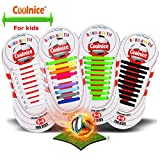 Coolnice® No Tie Shoelaces for Teenagers Outdoor Sports 18pcs- Environmentally Safe silicone - Lazy Shoestrings-Rainbow Color