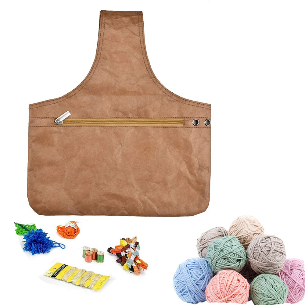 Knitting Bag, KOBWA Yarn Wrist Storage Tote Organizer Portable with Zipper Lightweight, Perfect Size for DIY Carrying Skeins, Knitting Needles and Crochet Hooks 35 * 30.5cm