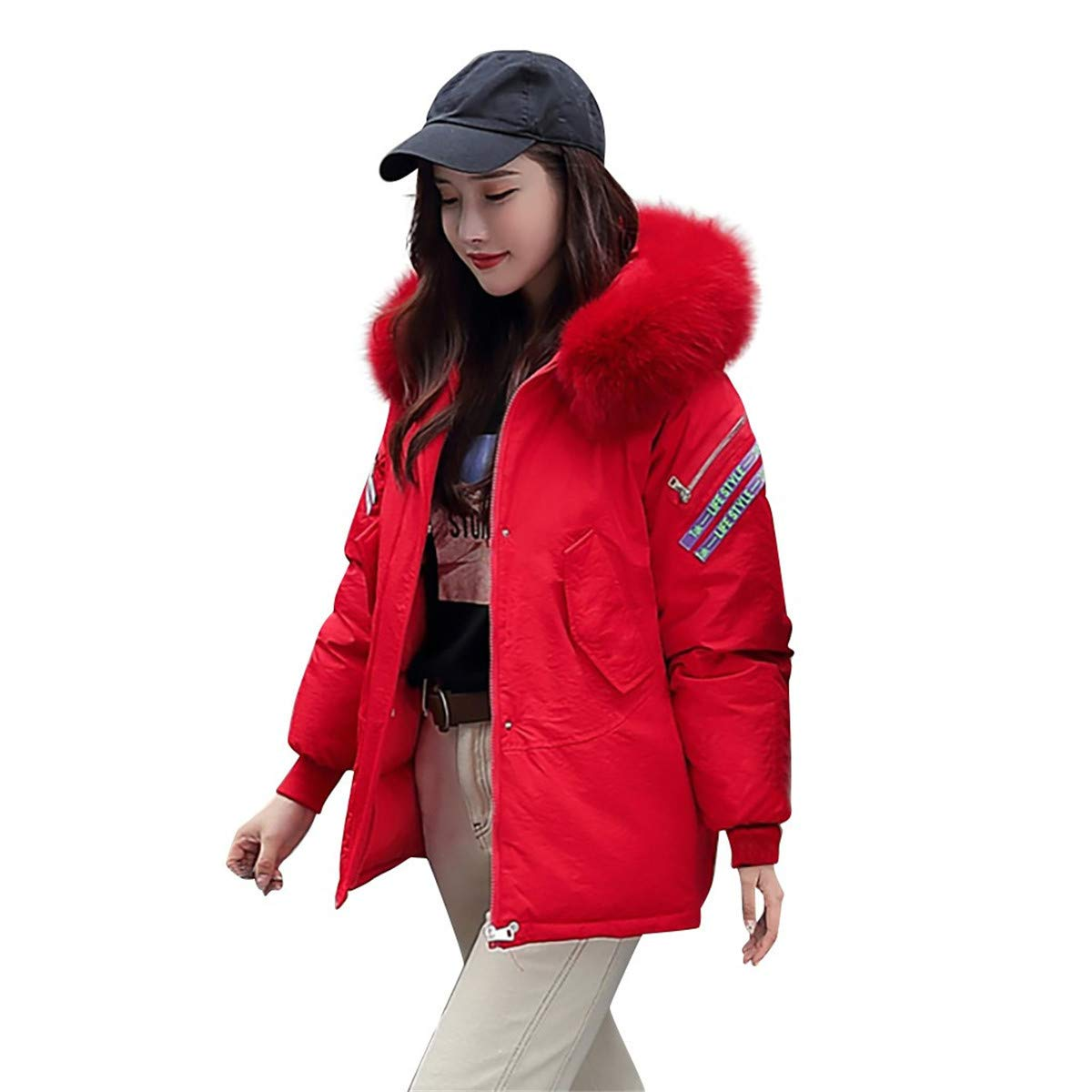 Thenxin Women's Winter Short Parka Jacket Fluzzy Faux Fur Hooded Thick Puffer Coats(Red,XL) by Thenxin