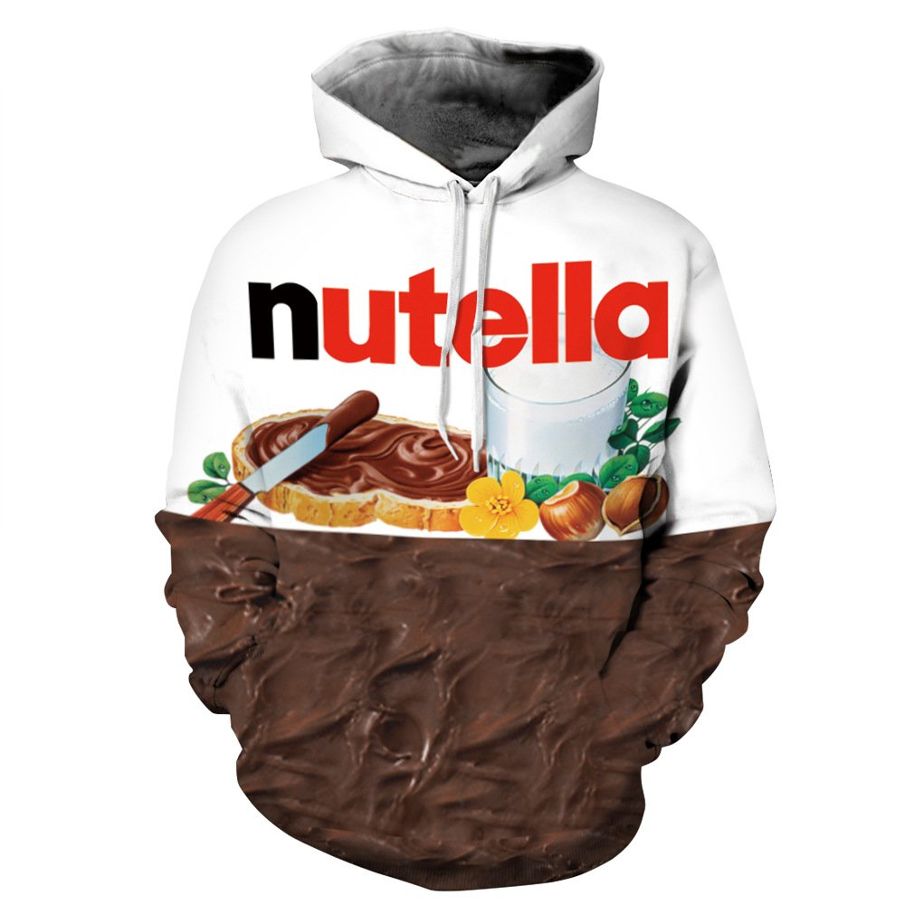 Unisex Realistic 3D Hooded Sweatshirt(L/XL, Nutella)